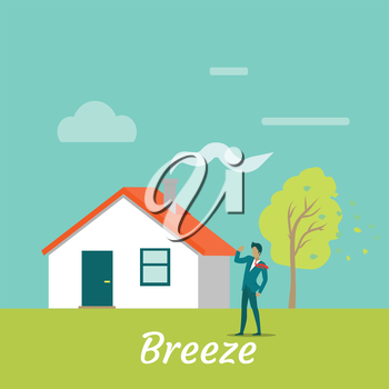 Breeze gentle wind blowing on young man. Male standing near cottage house near tree while wind blows on his. Land breeze. Cool wind from the sea. Recreation near native home. Vector illustration