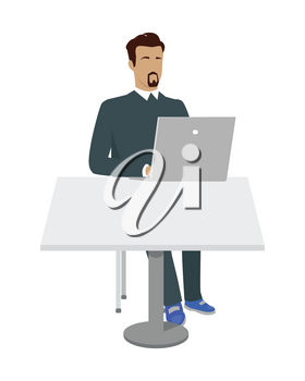 Business man working with laptop in office. Man in blue sweater sitting at the table and using laptop. Businessman at the workplace. Isolated object in flat design on white background.