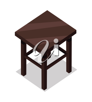 Home and office furniture in isometric projection. Stool vector. Comfortable furniture illustration for stores ad, app icons, infographics, logo, web and games environment design. Isolated on white