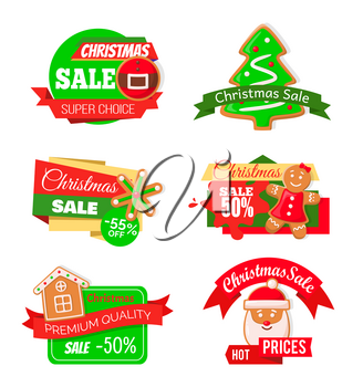 Christmas sale shopping proposition of shops market vector. Isolated set o f icons with pine tree cookie, snowflake and gingerbread man, Santa claus