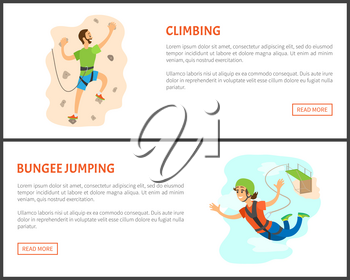 People with active lifestyles vector, flying woman wearing helmet and tied to bridge with rope for protection, male climbing wall with rocks training