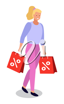 Shopping woman happy to buy items on sale. Isolated female character with packages. Person using discounts and proposals of stores while buying products. Happy customer with smile. Vector in flat