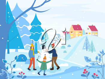Mother and father with kid building snowman. Child and parents sculpting man of snow in park. Winter landscape and cityscape. Family relaxing on weekends together. Happy dancing kiddo vector