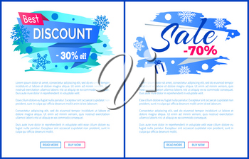 Best discount -30 off winter 2017 final sale 70 label with snowballs and snowflakes on abstract blue background isolated seasonal vector posters set