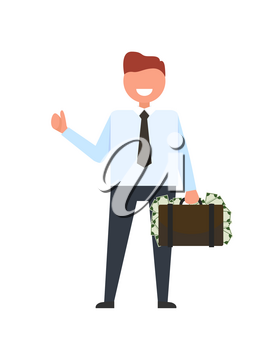Smiling businessman dressed in suit with tie holding a suitcase full of money and waving his hand vector illustration isolated on white
