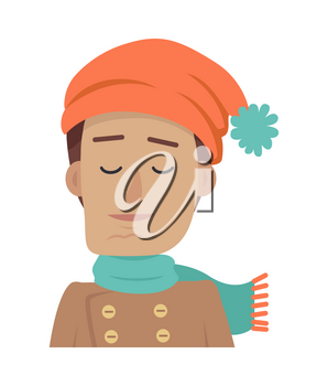 Cartoon portrait of young calm boy on white background. Man with brown hair in orange hat with blue pompom and blue scarf. Guy in cold weather. Handsome boy with closed eyes. Vector illustration.