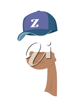 Hat. Contemporary sport violet cap with Z letter. Warm silk knitted brown scarf twisted on the right. White background. Common icons of various headwear types. Flat design. Vector illustration