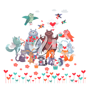 Set of animals with hearts. Wolf with arrow, owl birds, white and brown bears, rabbit and hedgehog, red fox and squirrel, cat with raccoon. Valentines day concept vector illustration in flat style