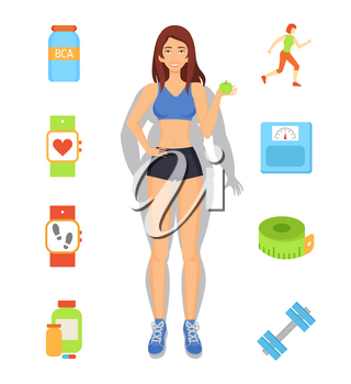 Sport and diet weight loss, woman with transformed body, slender lady with fruit in hands. Dumbbells and meter measurement, running lady set vector