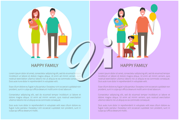 Happy family icon, in cartoon style vector banner. Young couple holding hands, mother with baby in arms, with kids and pet, packages and balloons