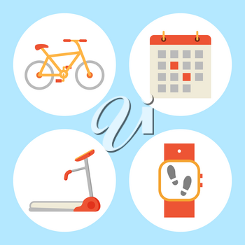 Treadmill and bicycle isolated icons set. Bike and running track mechanical device for jogging in gym, Fitness watch and calendar with dates vector