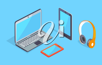 Modern computer equipment set with smartphone, digital tablet, headphones 3D vector illustrations isolated on blue background