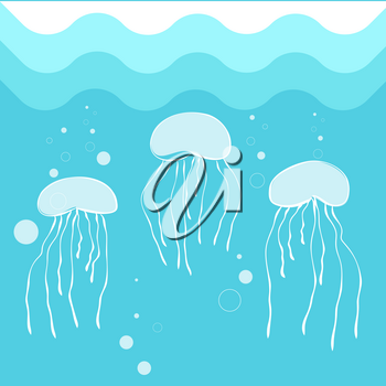 Jellyfish swimming in blue sea water background. Vector illustration of octopus in deep ocean, marine concept image in flat style