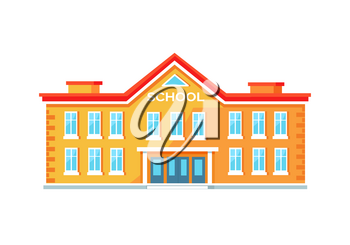 Yellow school building with entrance in middle with wide amount of windows and red roof. Vector illustration isolated on white background