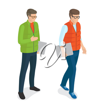 Men with laptops in glasses vector isolated on white background. Students or college boys cartoon characters, stylish guys with computer devices