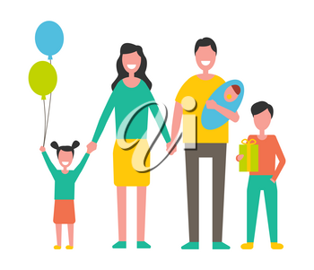Family with children holding newborn baby, gift box and balloons. Parents beside kids ready for birthday party carrying present vector illustration.