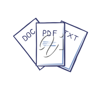 Pdf and doc, text documents isolated icons vector. Electronic files containing information and data. Printed written materials, office documentation
