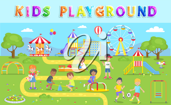 Kids playground in green park vector illustration, happy children playing in summer garden with different swings, carrousel and observation wheel