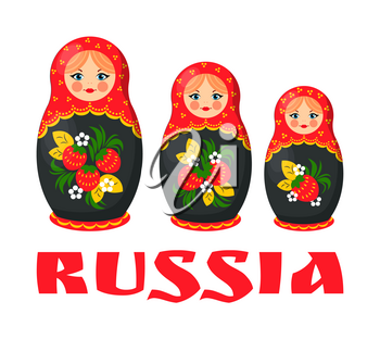 Traditional Russian wooden matryoshka. Nesting doll decorated with red and black color flower pattern. Russia culture vector illustration poster.