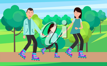 Family roller skating together vector illustration in park on background of trees and bushes. Parents teach child to skate on rollers, spending free time