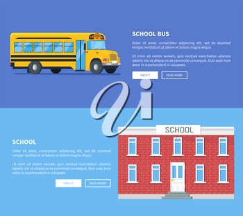 School bus and building set of vector posters. Conventional-style yellow transportation item used as student transport isolated vector illustration