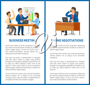 Business meeting and phone negotiation office work. Boss and employees, office work, graphics with statistics, laptop on desk vector illustrations.