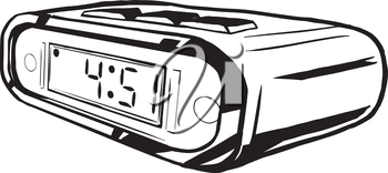 Digital clock side view with the LCD panel showing the numbers for the hours and minutes for the time visible at the front, hand-drawn vector illustration