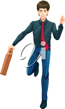 Illustration of a male business icon with a suitcase on a white background