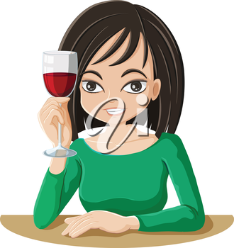 Illustration of a woman drinking wine on a white background