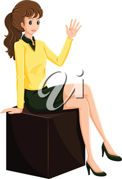 Illustration of a female businesswoman sitting on a wooden cube on a white background