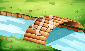 Illustration of a wooden bridge at the river