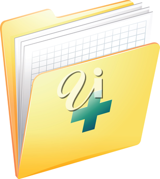 Illustration showing the medical records on a white background