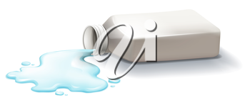 Illustration of a white medicine bottle with spilled syrup on a white background