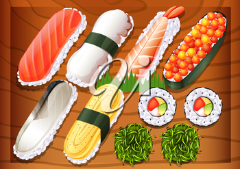 Illustration of the different flavors of sushi