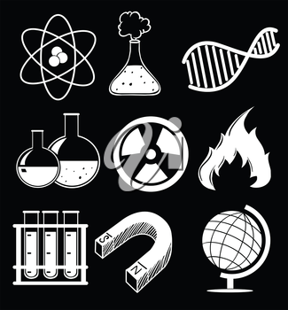 Illustration of the science images on a black background