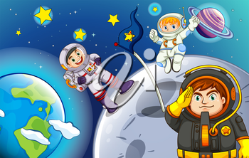 Illustration of the astronauts in the outerspace