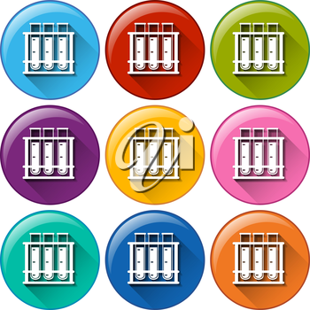 Illustration of the round icons with testtubes in a rack on a white background
