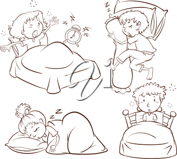 Illustration of a plain sketch of kids sleeping and waking up early on a white background