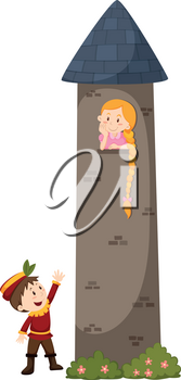 Prince looking at the princess on the tower illustration