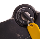 Key of an old motorcycle, selective focus, isolated