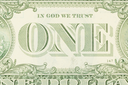 Close-up of an one dollar bills, isolated