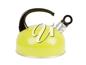 Used green kettle, isolated on a white background