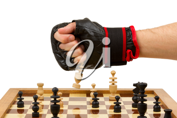 Playing chess in freefight gloves, isolated on white