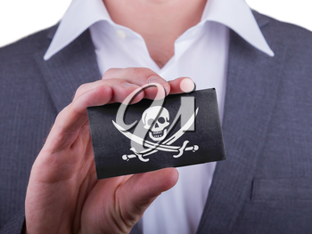 Businessman showing card, matte paper effect, Pirate