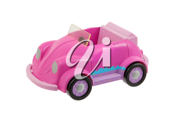 Old pink plastic toy car isolated on white