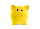 Unique pink ceramic piggy bank isolated, bright yellow