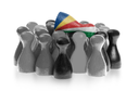 One unique pawn on top of common pawns, flag of the Seychelles