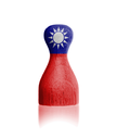 Wooden pawn with a painting of a flag, Taiwan