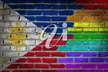 Dark brick wall texture - coutry flag and rainbow flag painted on wall - Philippines