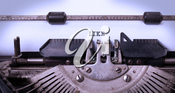 Vintage inscription made by old typewriter, LIKE
